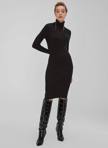 People By Fabrika Balıkçı Yaka Triko Elbise Siyah